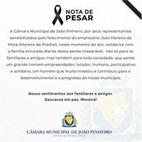 A Câmara Legislativa de João Pinheiro emite nota de pesar em razão do falecimento do empresário João Moreira Mota